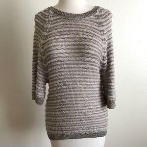 Anthro Yellow Bird Silver Dolman Sweater Top